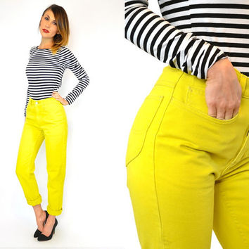 vintage 1980s LEE JEANS high waist CHARTREUSE boyfriend jeans denim, extra small-small