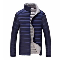 Duck Down Jacket Men's Feather Ultralight Down Jackets Double Side Reversible Outwear Plus With Carry Bag