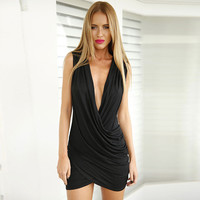 Black Sleeveless Deep V Ruched Surplice Bodycon Wrap Mini Dress