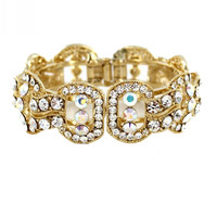 Helen's Heart JB-PD00339 - Gold Crystal Bangle Prom Bracelet Online