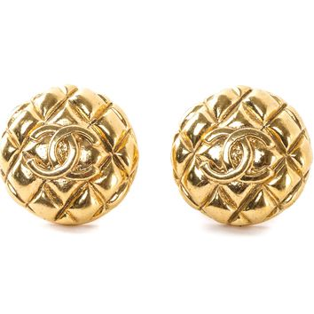 Authentic Chanel vintage clip on Gold-tone earrings