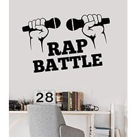 Vinyl Wall Decal Rap Hip Hop Music Battle Microphone Stickers Mural Unique Gift (ig3360)
