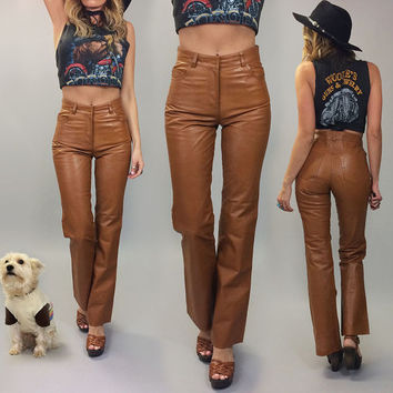 Vintage 1970's Deadstock HONEY CARAMEL Leather Flared High Waisted Pants || Size 26