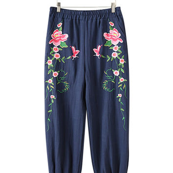 Chinese Style Embroidered Pants For Women