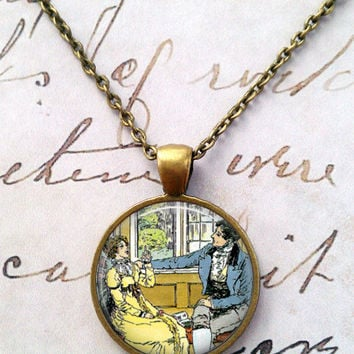 Jane Austen Necklace, Books, Library, Darcy, Willoughby, Literary, Victorian, Steampunk, Quotes T1143
