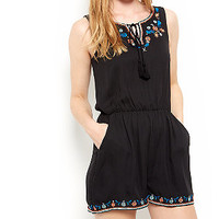Parisian Black Embroidered Trim Sleeveless Playsuit