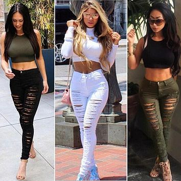 Sought-After Women Denim Skinny Ripped Pants High Waist Stretch Jeans Long Pencil Trousers