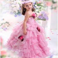 flowergirls Pink vestido flower Pageant Dresses Little Girls Ball Gowns Fluffy Girl Dress for Wedding