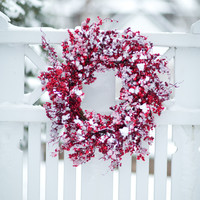 Sub Zero Collection Mixed Berry Wreath w/Snow
