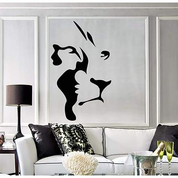 Vinyl Wall Decal Abstract Lion Head African Animal Predator Stickers (2964ig)