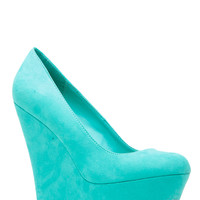 Aqua Faux Suede Platform Wedge Pumps