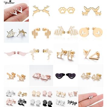 Yiustar Tiny Stainless Steel Stud Earrings Cute Cartoon Animal Plant Earrings for Women Girls Kids Jewelry Bitty Letter Earrings