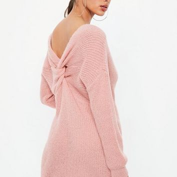 Missguided - Pink Fluffy Twist Back Sweater Dress
