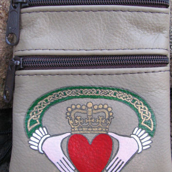 Genuine leather zippered purse, taupe color background, hand stamped and hand painted with a beautiful claddagh