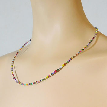 Seed Bead Necklace Hippie Choker Small Beads 21 Inches Boho Bohemian Festival Accessory Hippy Indie Colorful Assorted Rasta Colors Handmade