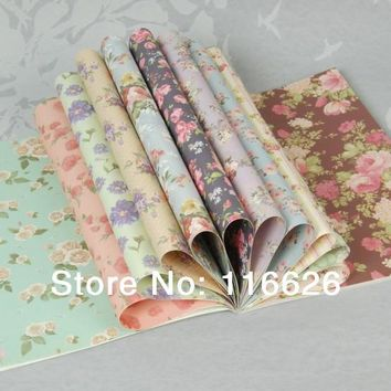 ENOGREETING Vintage Flower Pattern Gift Wrapping Paper Book of 24 different Designs Girl Love Packing Paper Kit 24sheets/lot