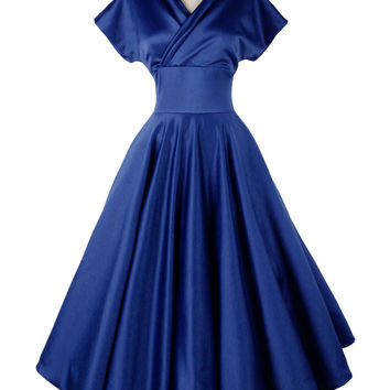 Blue Off Shoulder Wrap Front Plain Homecoming Dress