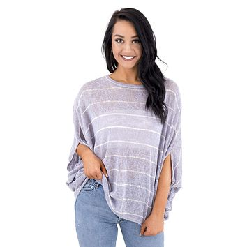 Women's Striped Loose Knit Top