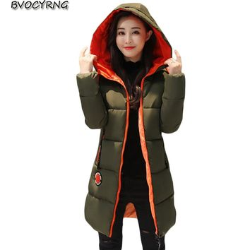 2017 New Hot Winter Jacket Female Thick Warm Cotton Coat Women Parka Wadded Long Style Plus size Hooded Outerwear Q775