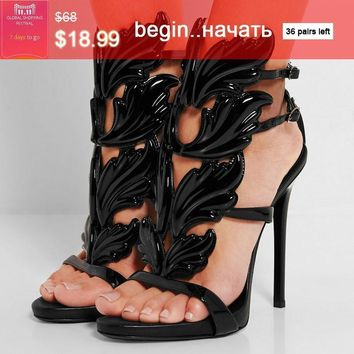 2016 new summer sandals rome street pat wings flame high heels leaf wedding shoes high  number 1