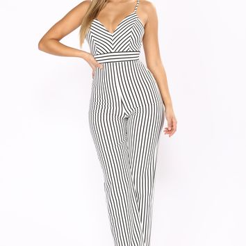 A Change In Stripes Jumpsuit - Ivory/Black