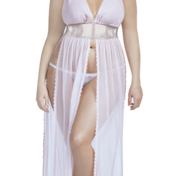 Plus Size Elegant Pink and Grey Gown Set