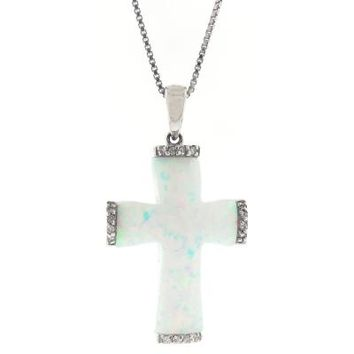 """.012 cttw Diamond and Created Opal Cross Pendant in Sterling Silver 18"""""""