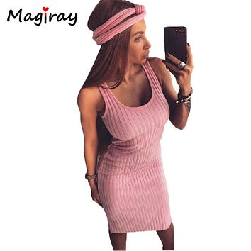 Sexy Sleeveless Knitted Tank Dress Women Knee Length Bodycon Dresses Summer 2018 Slim Scoop Neck Ribbed Robe Femme Sundress C417