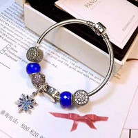 Pandora Women Fashion Crystal Plated Charm Bracelet Jewelry 925 Sterling Silver Inspirationa Blue