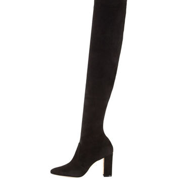 Manolo Blahnik Pascalla Over-the-Knee Suede Boot