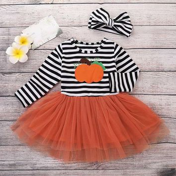 Children's long sleeve Halloween pumpkin print stripe dress + Hair Strap Two Set  Baby girl clothes 2018 #YL5