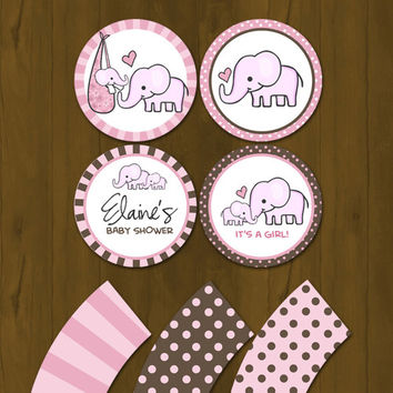 Pink Elephant Baby Shower Cupcake toppers with Free Cupcake Wrapper