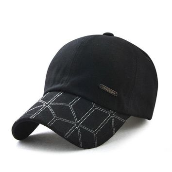 Trendy Winter Jacket Adjustable Simple Style Baseball Caps for Men Cotton Geometric Male Cap Snapback Hat Hip Hop Bboy Spring Casual Street Wear AT_92_12