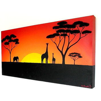 Sun Setting Over the African Plains acrylic painting (UK only)