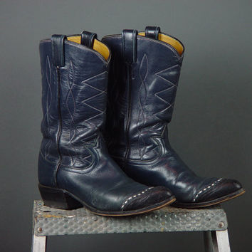 Vintage Tony Lama Leather Cowboy Western Boots Navy Blue Womens Ladies 6 6.5