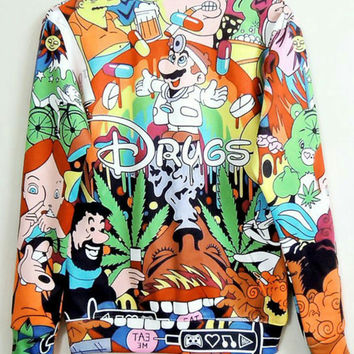 90s Trippy toons all over print Drugs shirt