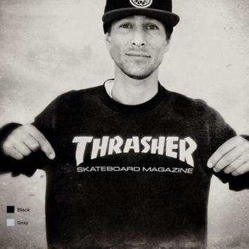 Thrasher TRENDINF Casual Letter Print Long Sleeve Round Neck Sweater