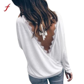 Women's T-shirts Sexy Backless Eyelashes long sleeve Transparent lace O-Neck tees shirt for Ladies Korean pop Style tshirt Tops