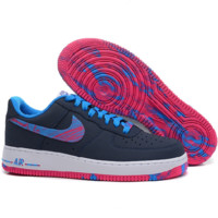 NIKE Women Men Running Sport Casual Shoes Air force low tops contrast color Navy blue