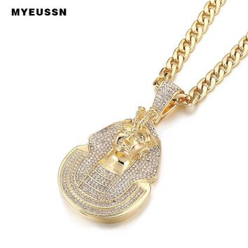 Huge Pharaoh Head Pendant Iced Out Bling Bling Crystal Charm Stainless Steel Chain Pendants Jewelry Hip Hop Punk Cuba's Necklace