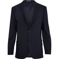 River Island MensNavy wool-blend slim suit jacket