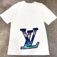 LV New fashion bust letter print and back sequin letter couple top t-shirt White