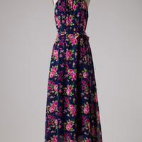 Summer Song Floral Maxi Dress - Navy