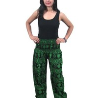 Harem Pant Green Printed Bellydance Cotton Gauchos Romper Yoga Pants: Amazon.com: Clothing