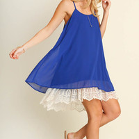 Romantic Royal Blue Swing Dress with Lace Hem