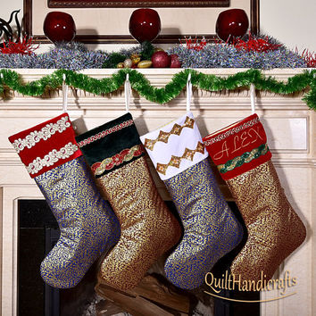 Christmas Stocking Create your own, unique design Quilted Patchwork Christmas Stocking Style Personalized Family X-mas Stocking Gift