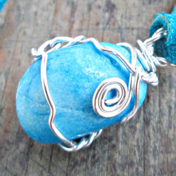 Bright Blue Stone Necklace - Bohemian Jewelry - Blue Hemimorphite Necklace - Natural Blue Stone - Healing Crystals and Stones - Sea Foam