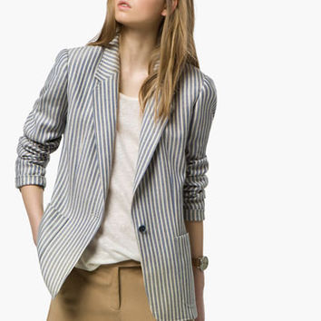 BLUE STRIPED BLAZER - View all - Blazers - WOMEN - United Kingdom