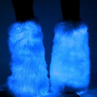 Blue Electric Styles LED Light Up Fluffies : Glowing Fluffy Leg Warmers