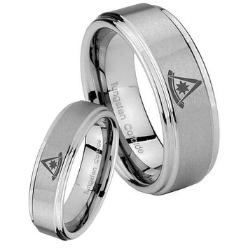 His and Hers Step Edge Flat Christian Cross Tungsten Silver Wedding Rings Set